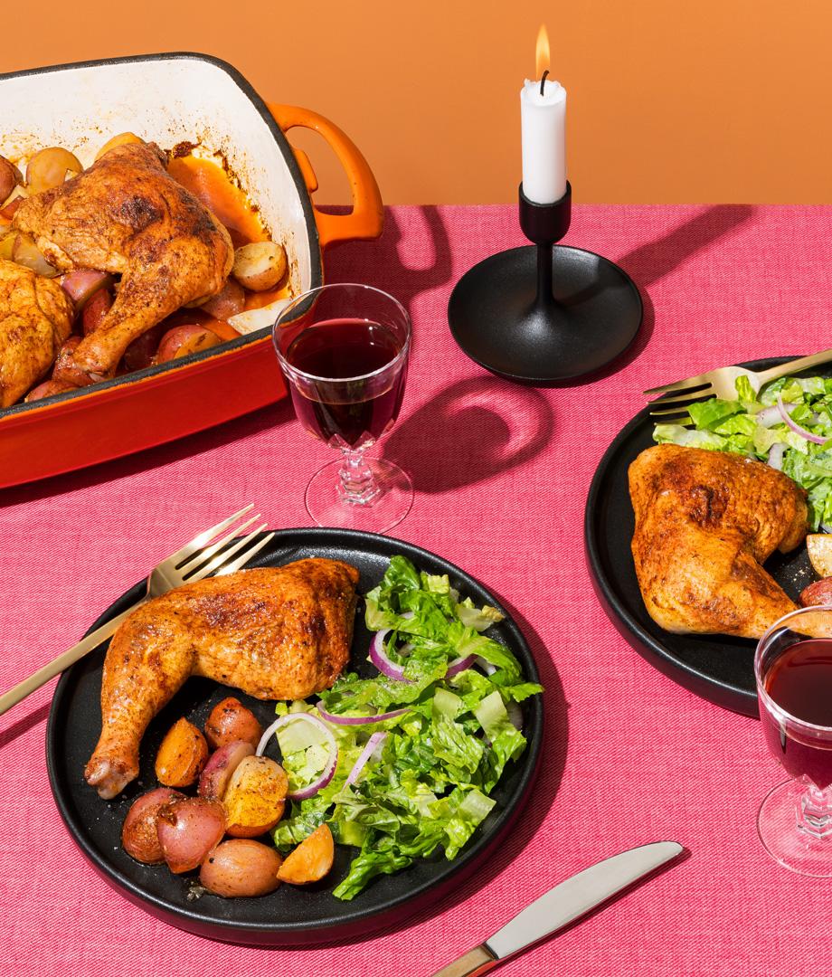 Cuisses de poulet piri-piri et pommes de terre grelots
