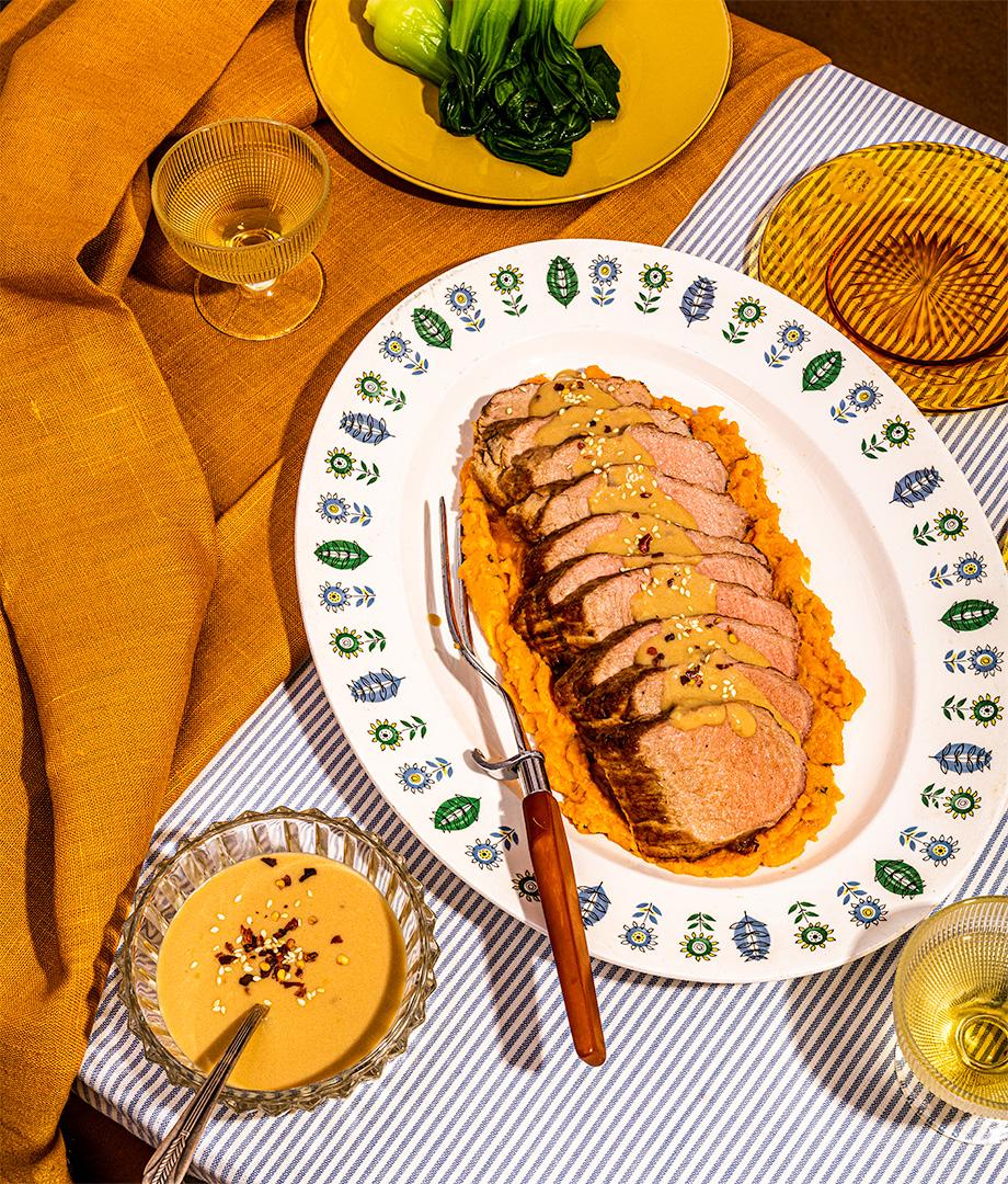 Filet de porc au gingembre et purée de patates douces