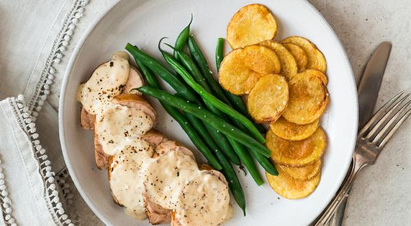 Filet de porc, sauce à la moutarde et à l'estragon