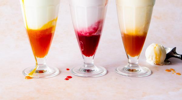 Flotteurs à la crème glacée et ses 3 sirops