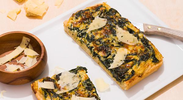 Focaccia à la crème d'épinards et au fromage