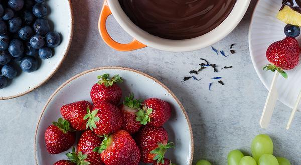 Fondue au chocolat noir et Earl Grey