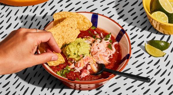 Gaspacho au crabe et guacamole