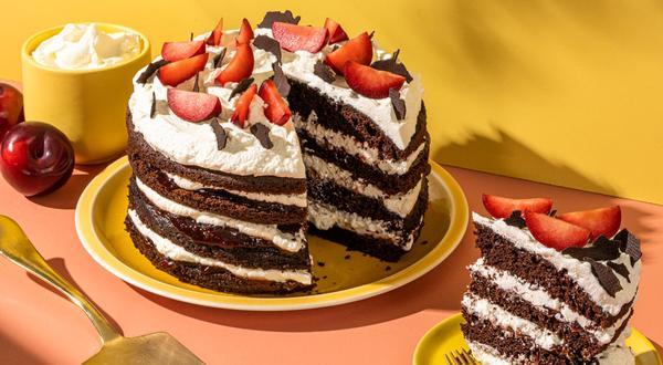 Gâteau forêt-noire aux prunes