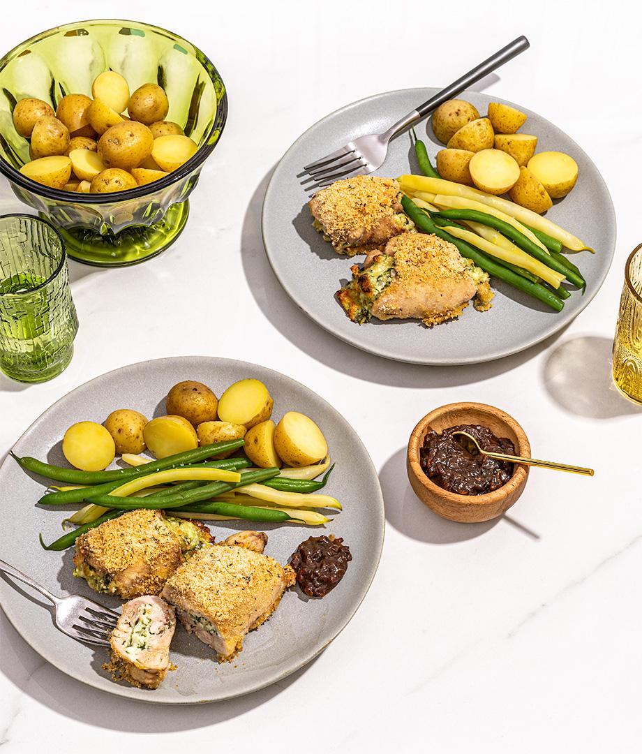 Hauts de cuisse de poulet farcis au fromage et échalotes
