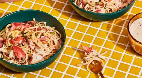 Linguines sauce crémeuse au homard et citron
