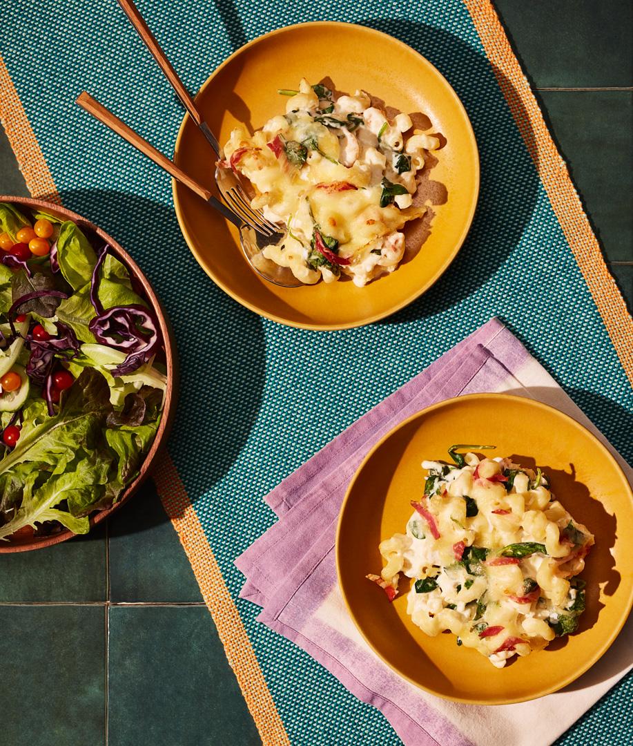 Mac and cheese au prosciutto et aux épinards