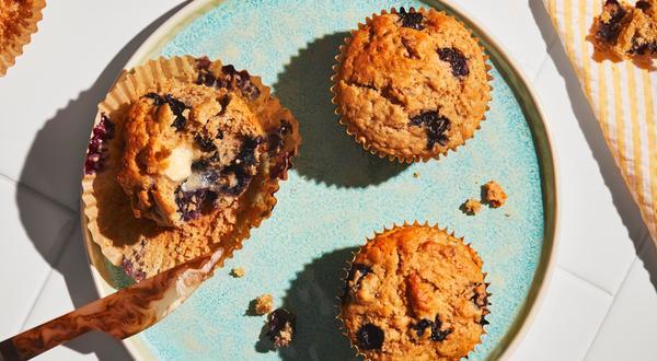 Muffins aux bleuets et pacanes hachées