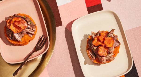 Parmentier de patates douces et canard confit