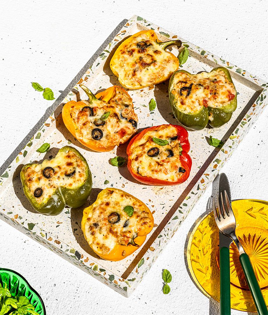 Poivrons farcis et gratinés au fromage