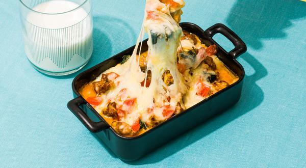 Polenta crémeuse à la saucisse italienne