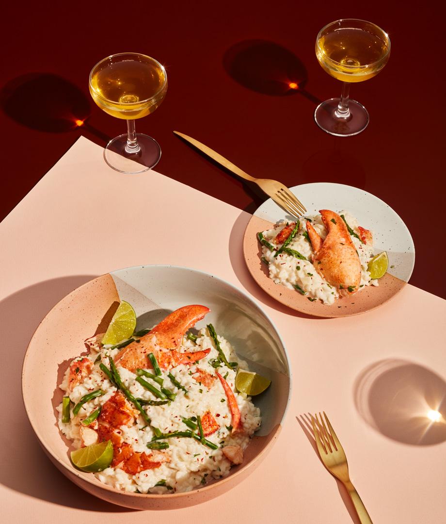 Risotto aux asperges, au homard et au fromage