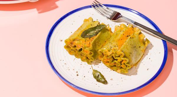 Rouleaux de lasagne végétarienne à la citrouille
