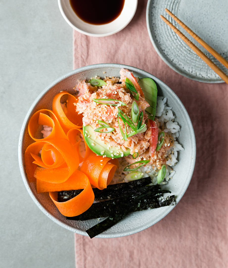 Salade de crabe crémeuse, avocat et carottes