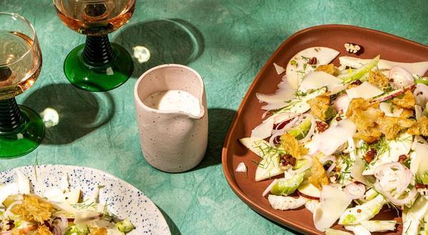 Salade de fenouil, céleri et pomme, vinaigrette au babeurre