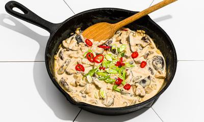 Shiitakes grillés avec crème pimentée au sésame