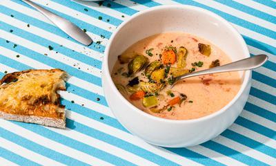 Soupe aux légumes rôtis