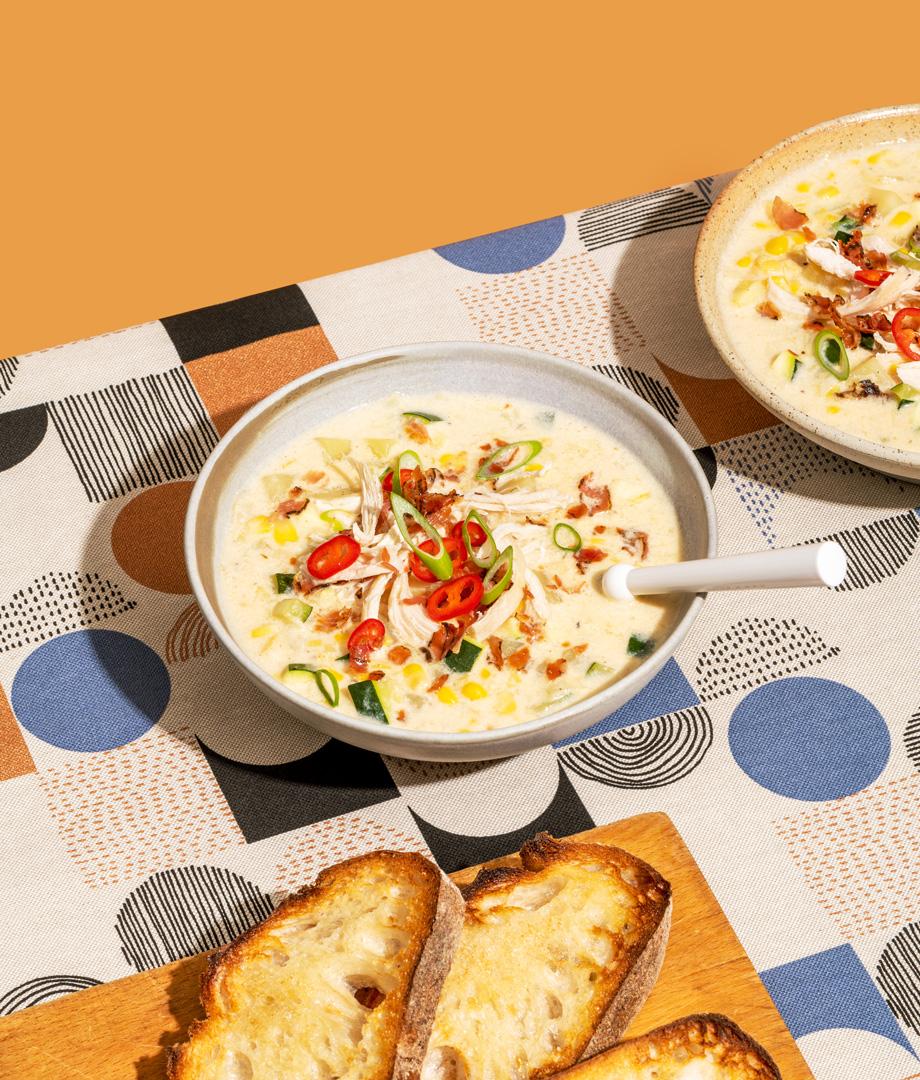 Soupe crémeuse épicée au poulet et aux légumes