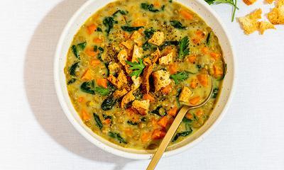 Soupe-repas aux lentilles, carottes et cumin