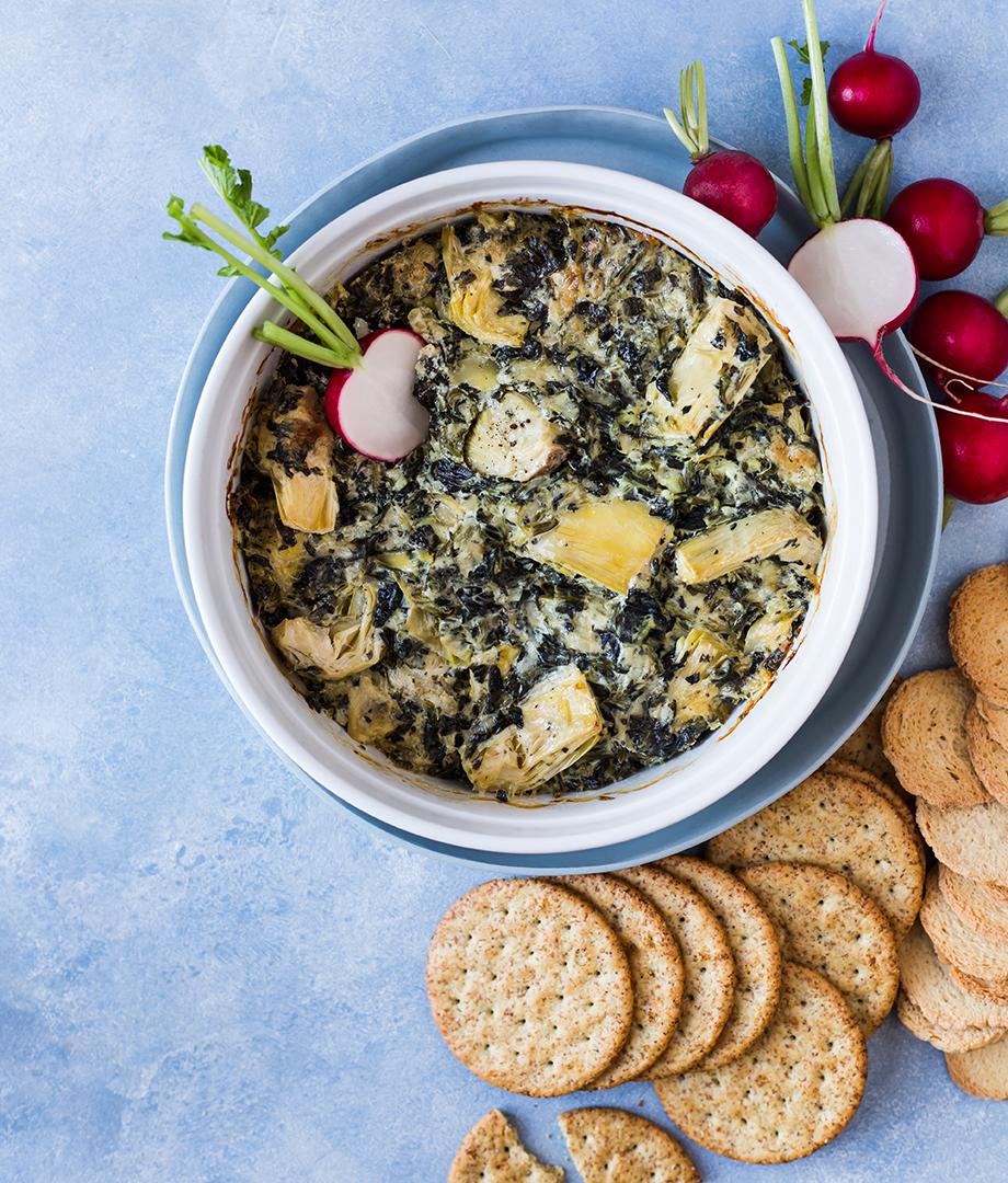 Trempette épinards, artichauts et fromage fumé