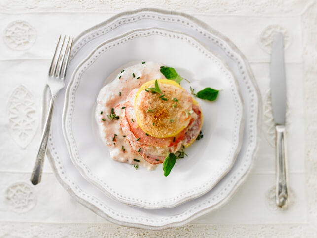 Croque-monsieur de polenta et crème de tomate muscadée