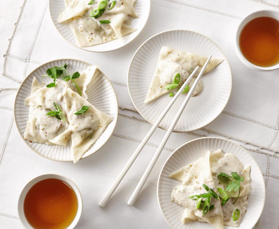 Dumplings aux crevettes et à la crème au sésame noir