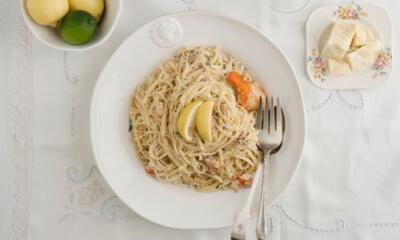 Linguines, sauce crémeuse au citron et au homard