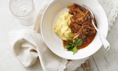 Porc effiloché et polenta crémeuse