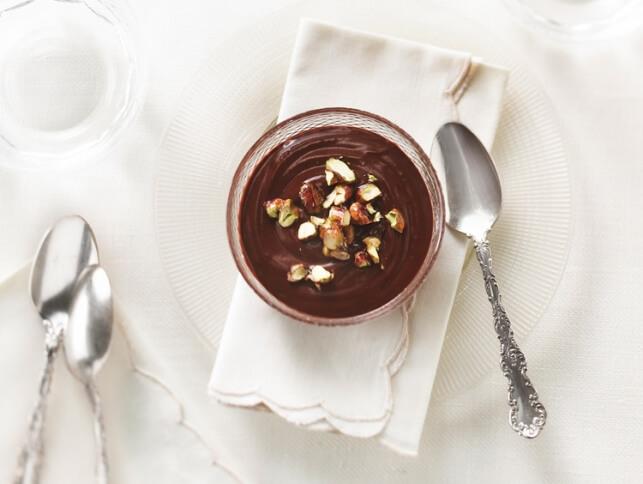 Pot de crème choco-café avec nougatine aux pistaches