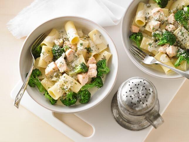 Rigatoni au saumon et brocoli