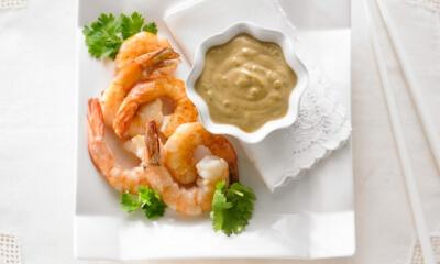 Sauce aux arachides et crevettes grillées