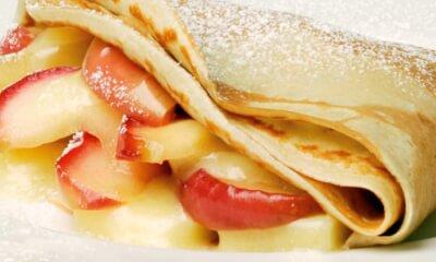 Crêpe aux pommes, au miel et au suisse d'ici