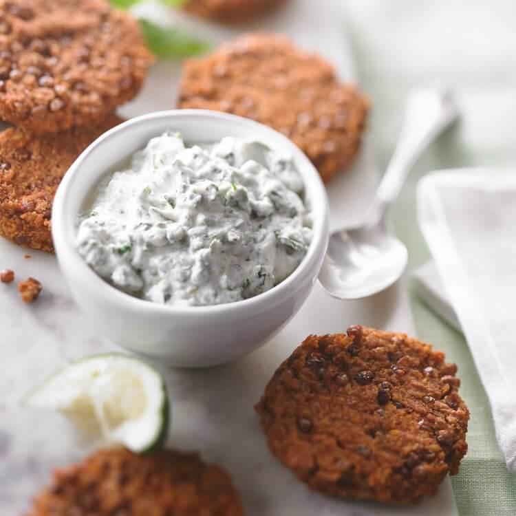 Croquettes de lentilles tandoori, sauce au Fromage Blanc Riviera