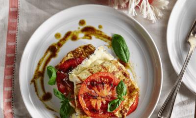 Étagé de dinde, tomates confites et fromage