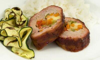 Filet de porc à la mélasse, farci à la raclette d'ici
