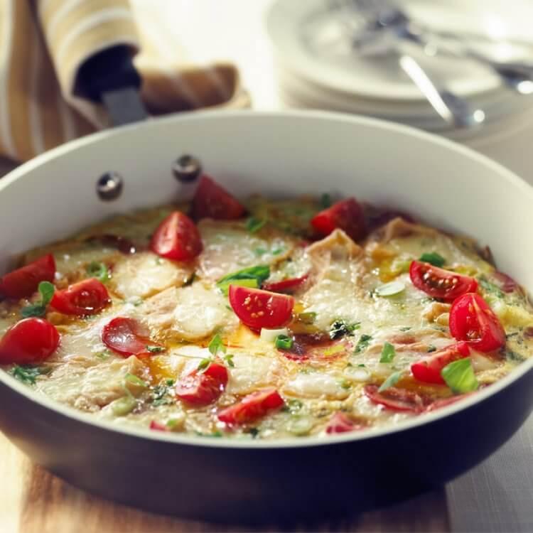 Omelette au fromage Roubine de Noyan et au chorizo