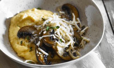 Polenta aux portobellos et au fromage Religieuse