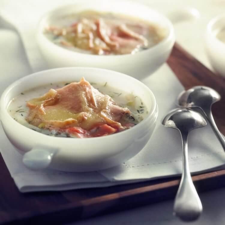 Potage-repas parmentier au saumon fumé et Le Voyageur