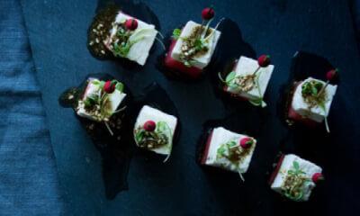 Brochettes de pastèque, Baya et huile au zaatar