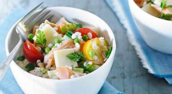 Salade d'orge et saumon
