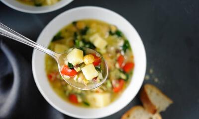 Soupe-repas aux pois chiches, au riz basmati et au fromage La Belle brune de Charlevoix