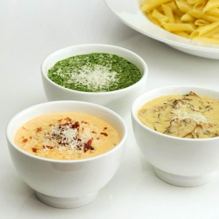 Trio de sauce aux fromages d'ici pour pâtes