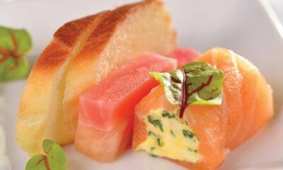 Cannellonis de gravlax de saumon, émulsion à L'Extra Brie Double Crème