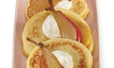 Crêpes aux poires caramélisées et crème à la ricotta