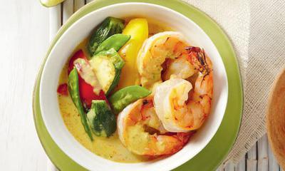 Cari rouge aux légumes et aux crevettes