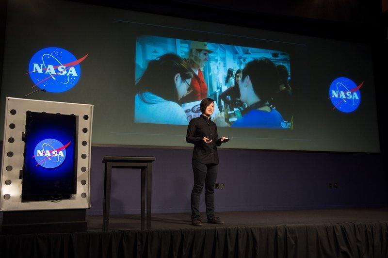 Tina Lai addressing participants at NASA's White House United State of Women Summit event. Photo Credit: NASA/Aubrey Gemignani
