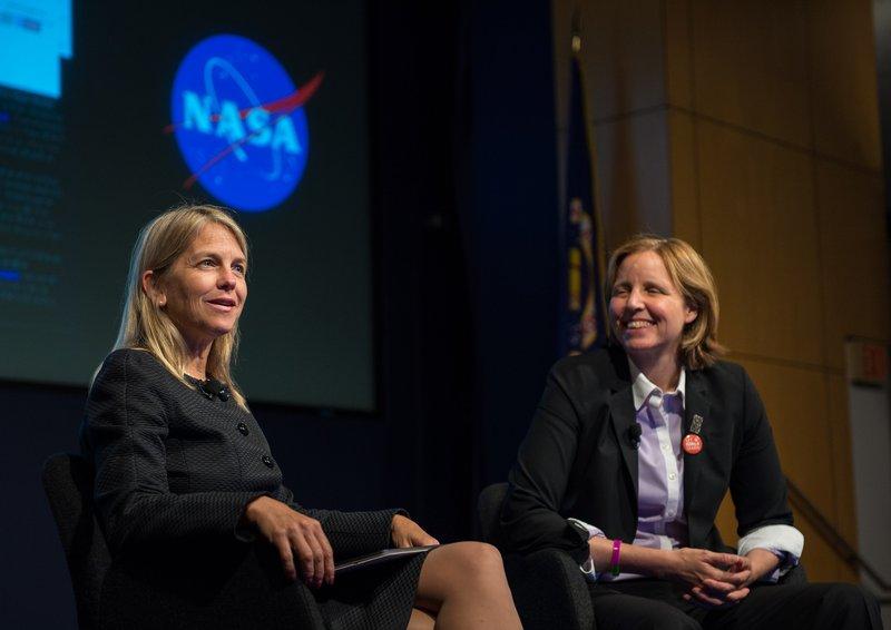 NASA's Deputy Dr. Dava Newman and USCTO Megan Smith in fireside chat at NASA's White House United State of Women Summit. Photo Credit: NASA/Aubrey Gemignani