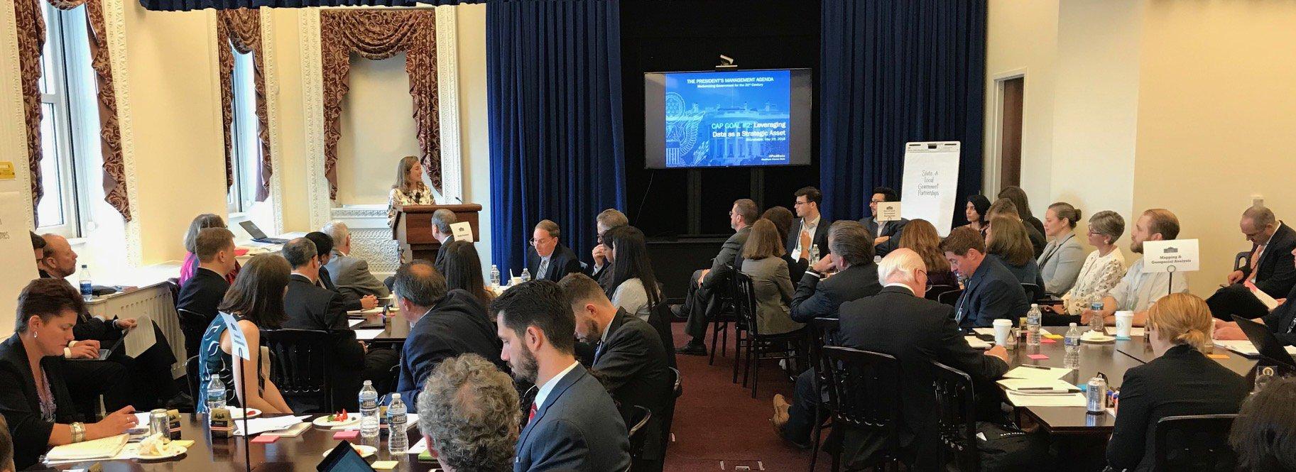 OMB Deputy Director for Management Margaret Wiechert addresses White House Data Roundtable. Photo by Beth Beck