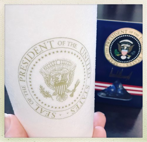 White House coffee cup and chocolates. photo by Beth Beck