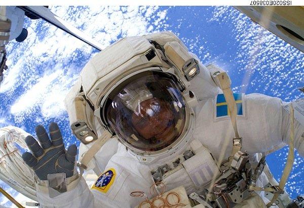 Christer Fugelsang on a spacewalk during STS-116